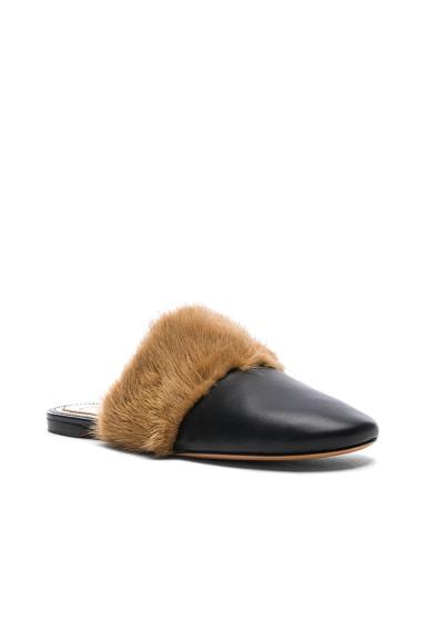 Leather Bedford Mink Fur Trim Flat Mules