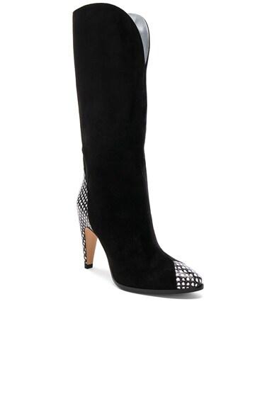 Snakeskin Trim Suede Boots