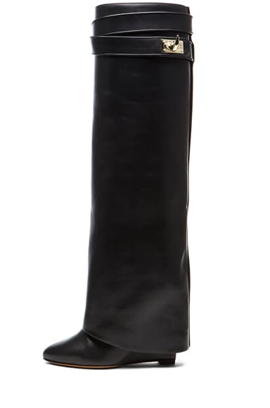 Shark Lock Calfskin Leather Wedge Knee Boots