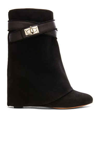 GIVENCHY Shark Lock Suede Boots in Black