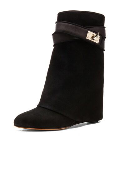 Shark Lock Suede Boots