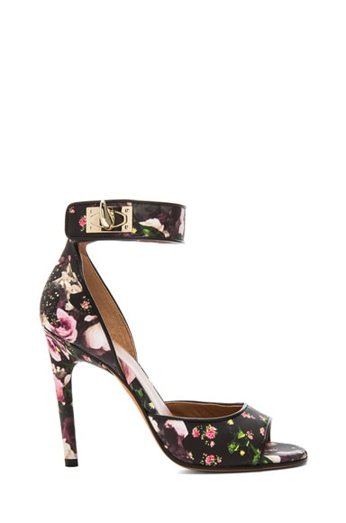 Shark Lock Floral Nappa Leather Sandals