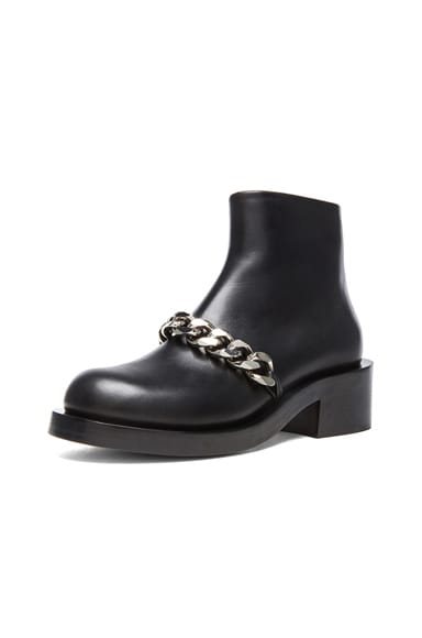 Laura Leather Silver Chain Ankle Boots