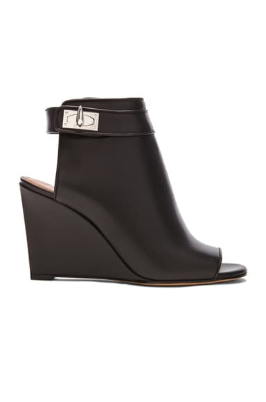 GIVENCHY Shark Lock Leather Wedges in Black