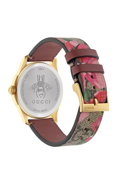 38MM G-Timeless Pink Blooms Print Watch