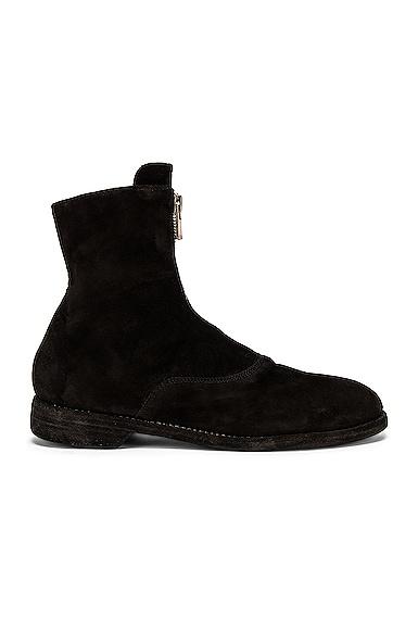 Guidi Stag Suede Zipper Boots in Black