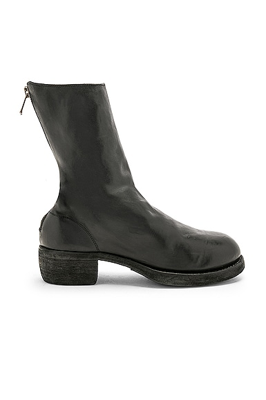Leather Horse Zip Back Boots