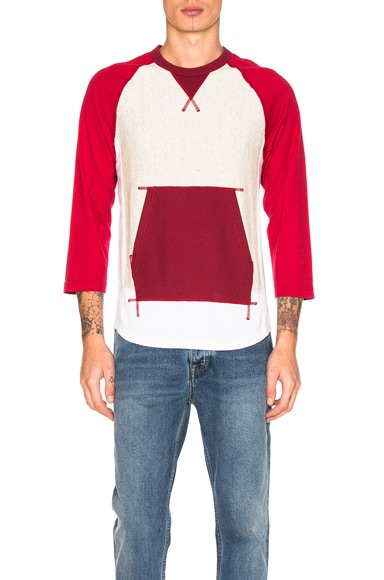 GANRYU Cotton Pile Lined T-Shirt in Burgundy