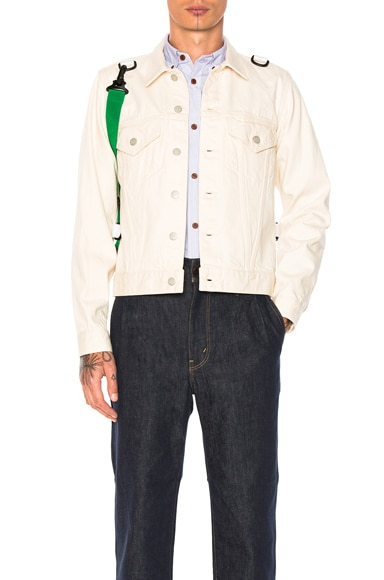 GANRYU Cotton Selvedge Denim Jacket in Natural & Green