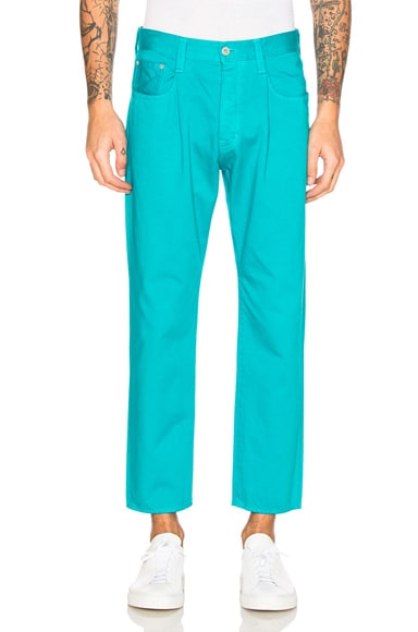 GANRYU Cotton Satin Trousers in Blue Green
