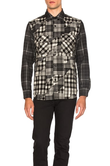GANRYU Wool Check Shirt in Black & White