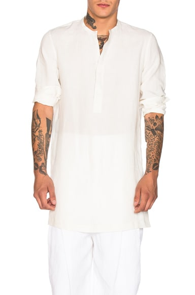 Haider Ackermann Collarless Shirt in Ewodi Ash White