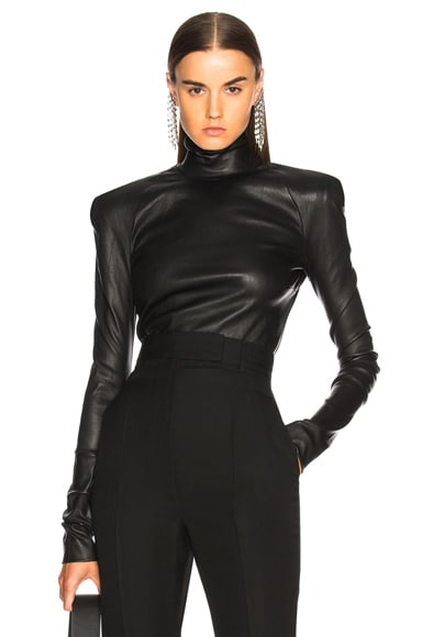 Round Shoulder Leather Turtleneck Sweater