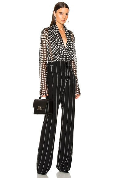 Striped High Waisted Wide Leg Trousers
