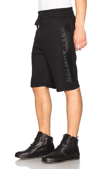 Helmut Lang Sponge Fleece Logo Track Shorts in Black