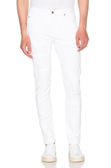 Helmut Lang Distressed Skinny Jeans in Optic White