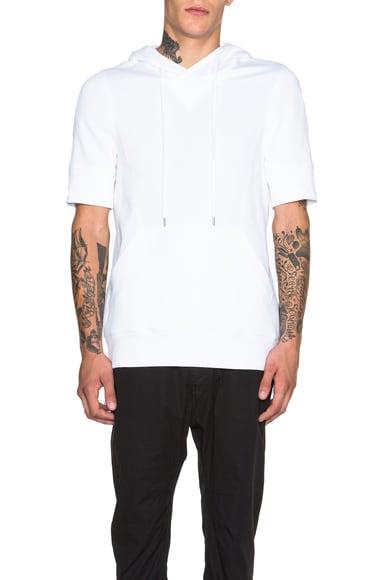 Helmut Lang Flat Loop Terry Short Sleeve Hoodie in Optic White