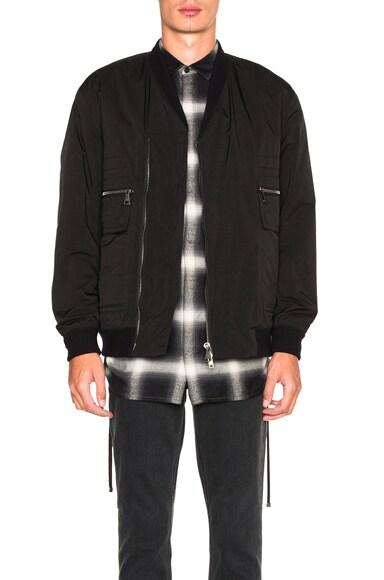 Helmut Lang Canvas Crossover Bomber Jacket in Black