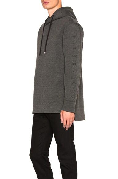 Helmut Lang 3D Logo Long Sleeve Hoodie in Dark Charcoal