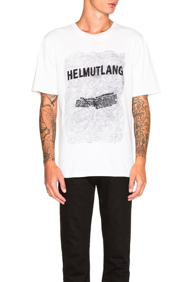 Helmut Lang Crinkled Poly Print Jersey Tee in White Multi