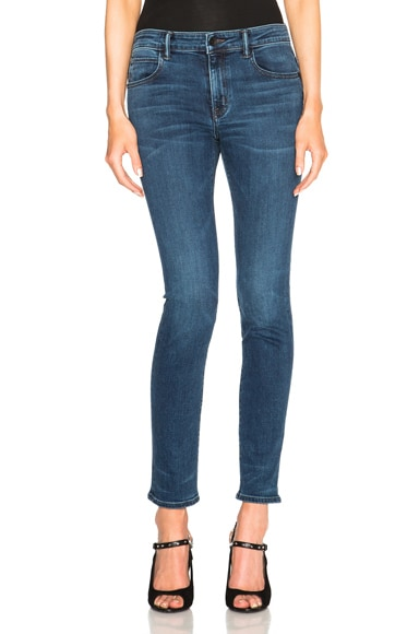 Helmut Lang Ankle Skinny Jeans in Medium Blue