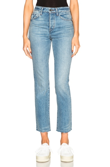 Helmut Lang High Rise Crop Fray in Light Blue