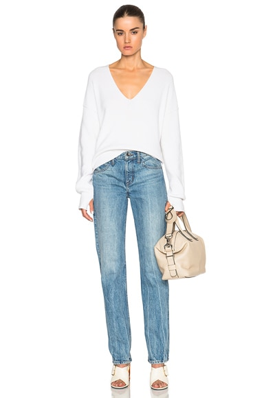 Helmut Lang Tie Back V Neck Sweater in White