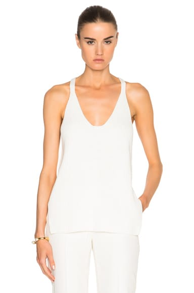 Helmut Lang Rib Knit Tank Top in White