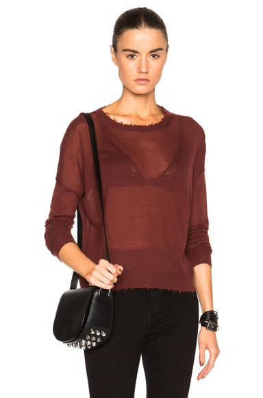 Helmut Lang Fine Cashmere Sweater in Pomegranate