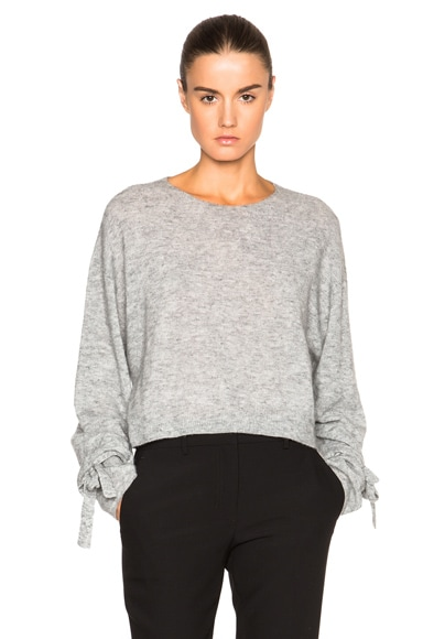 Helmut Lang Cropped Sweater in Heather Grey
