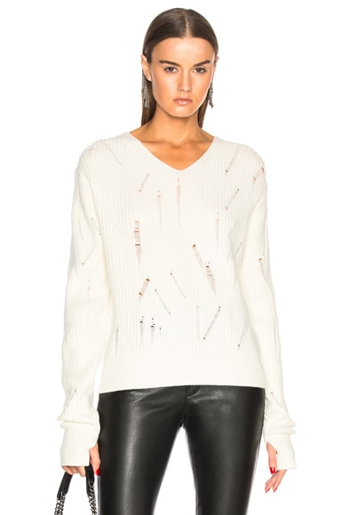 Drop Needle V Neck Sweater