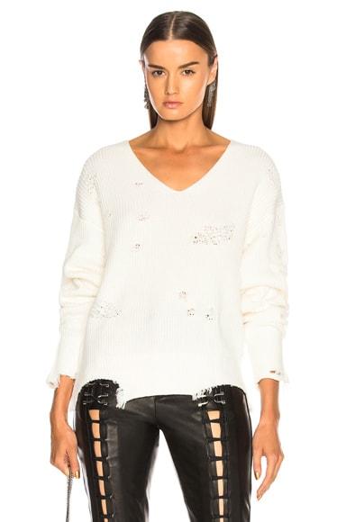 Distressed Longsleeve V Neck Sweater