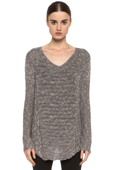 Caged Boucle Curved Hem Pullover