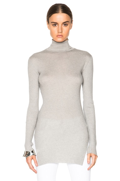 Helmut Lang Fitted Turtleneck Sweater in Light Heather