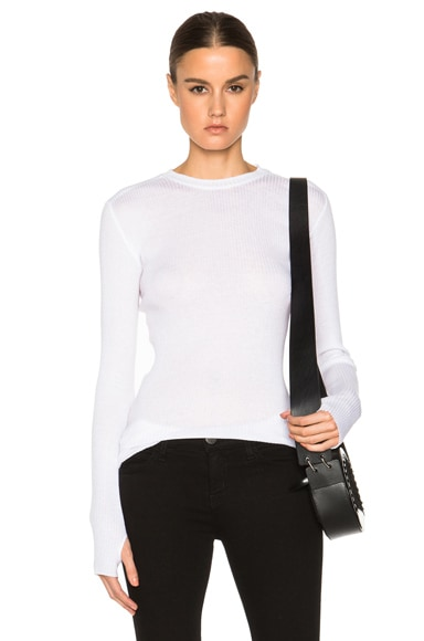 Helmut Lang Rib Long Sleeve Sweater in Optic White