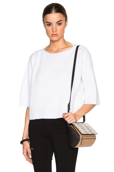Helmut Lang Cashmere Crop Sweater in White