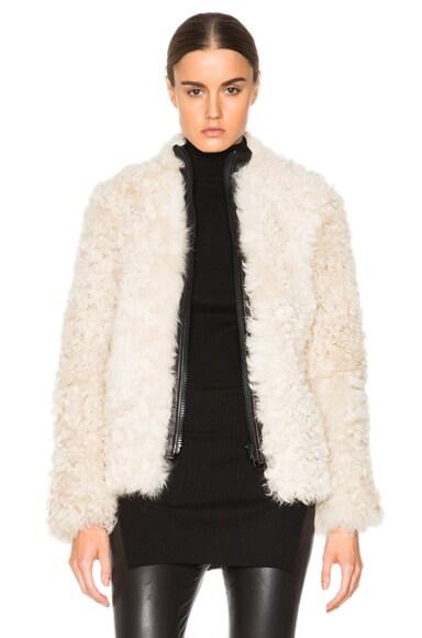 Helmut Lang Lamb Shearling Jacket in Ivory