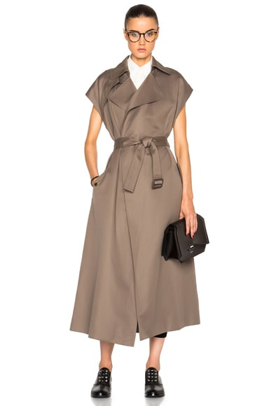Helmut Lang Trench Vest Coat in Army Green