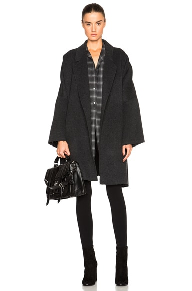 Helmut Lang Double Face Wool Cape in Dark Heather