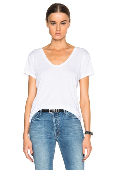 Helmut Lang Scoop Neck Tee in Optic White