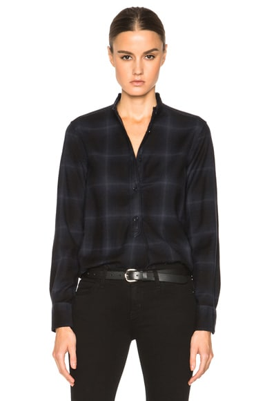 Helmut Lang Placket Tab Plaid Top in Blue