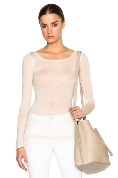 Helmut Lang Sheer Long Sleeve Crew Tee in Creme