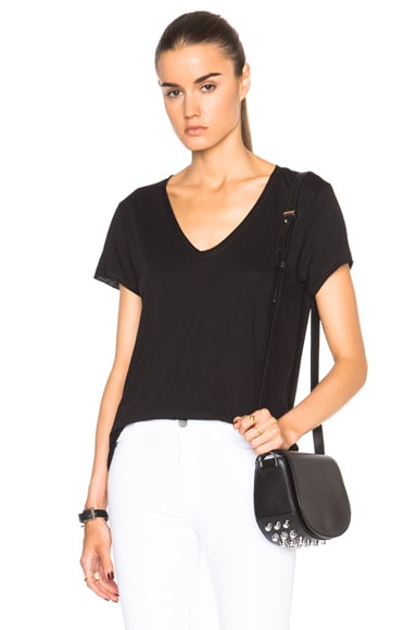 Helmut Lang Scoop Neck Tee in Black