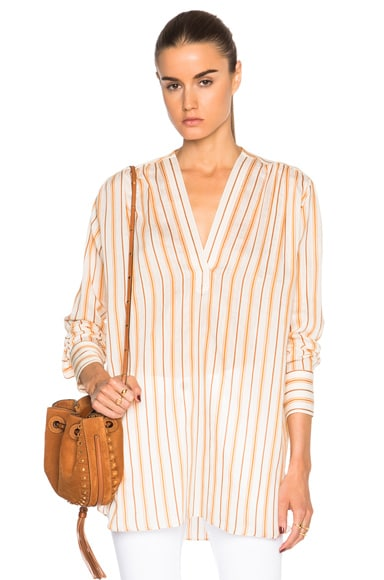 Helmut Lang Stripe Poet Top in White & Orange