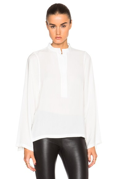 Helmut Lang Scoop Viscose Top in White