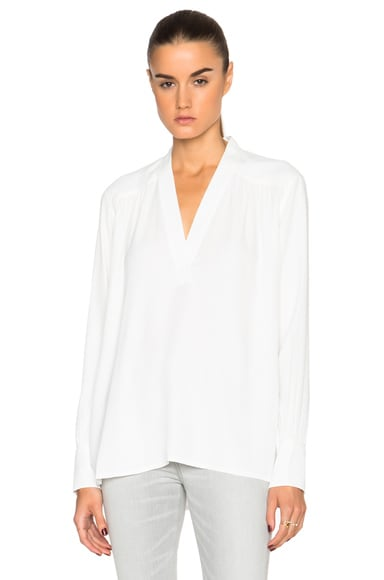Helmut Lang Kimono Collared Top in White
