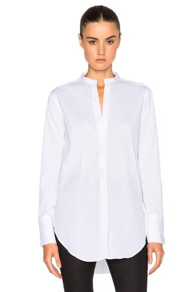 Helmut Lang Dobby Tuxedo Top in White