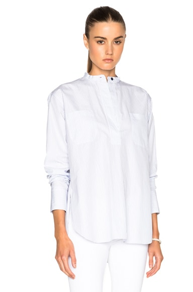 Helmut Lang Patch Pocket Poet Top in Blue Multi