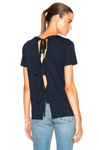Helmut Lang Back Tie Tee in Navy