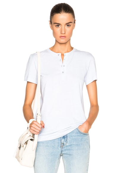 Helmut Lang Henley Tee in Light Blue